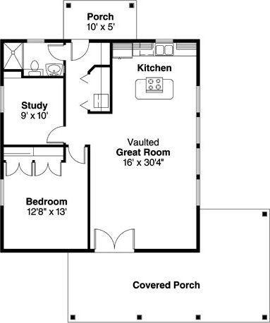 1 Bedroom 1 Bath Bungalow House Plan Alp 01wn Cottage Floor