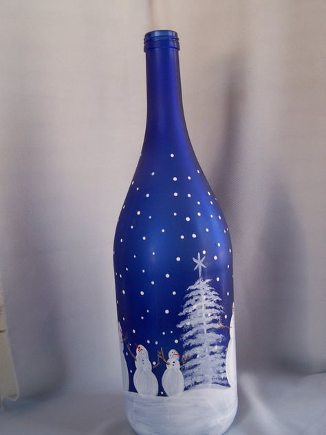 Snowman light up wine bottle decorative light up wine bottle Snowman family cobalt blue Hand Painted bottle winter scene