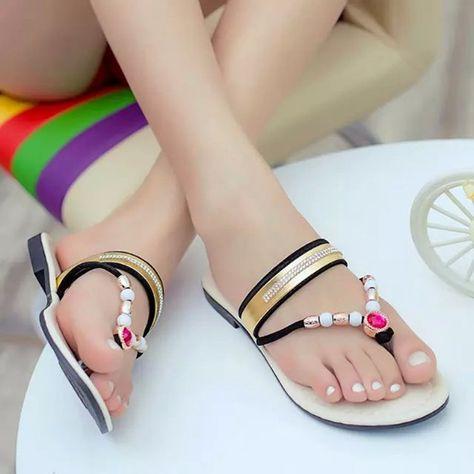 33dd1e94f1d7b Encontrar Más Sandalias Información acerca de Colorido mujeres chanclas  Slides marca abalorios oro sandalias planas zapatos de verano para mujeres  sandalias ...