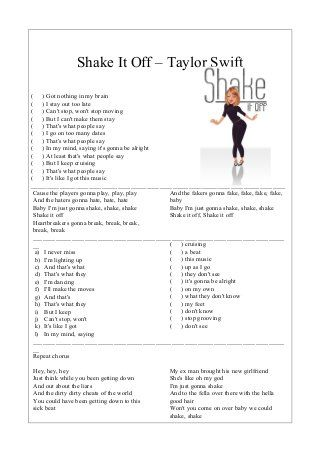 SONG WORKSHEET: Shake it off by Taylor Swift | Songs worksheets