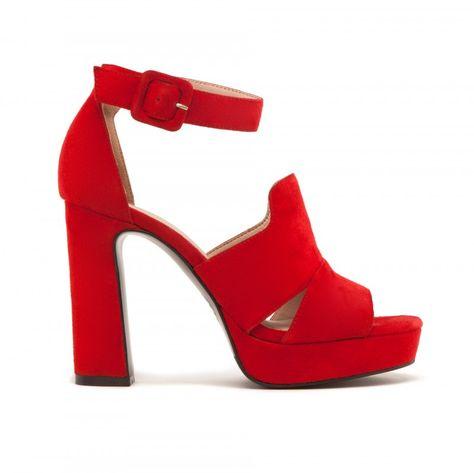 Sandalias de tacón de mujer Fórmula Joven rojas con plataforma | Zapatos  boda | Pinterest | Tacones de mujer, Sandalias de tacón y Plataforma