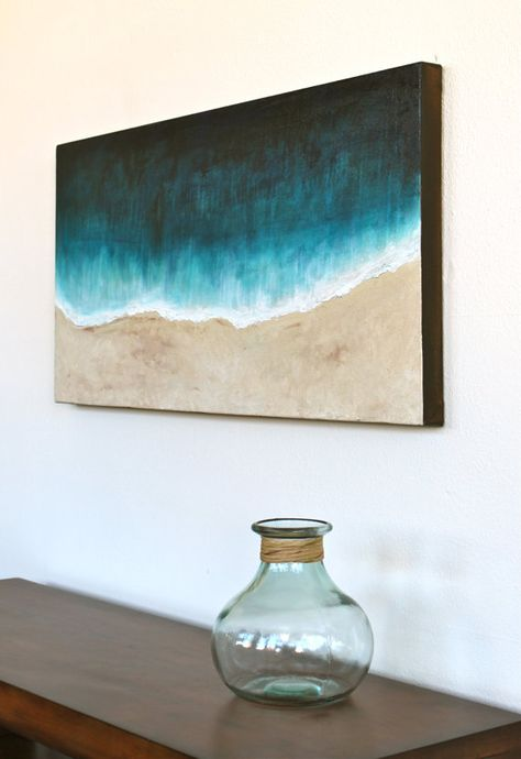 Beach original abstract art acrylic painting on thick by StudioZen