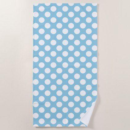 Polka Dots Spots Dotted Pattern Blue White Beach Towel