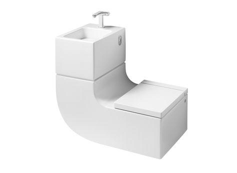 Porque es tan útil que no podemos dejarlo pasar... es el lavabo-inodor de Roca! Reutilizas el agua de lavarte las manos para el váter. Que bueno!!! #gadgets #lavabo #baño #inodoro #Roca #servicios #toilet
