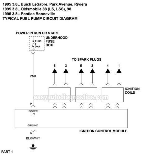 Ignition System Circuit Wiring Diagram Part 1 1995 3 8l Buick Lesabre Park Avenue Riviera 1995 3 8l Oldsmobile Eighty Ei Pontiac Oldsmobile Ignition System