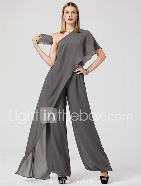 Jumpsuit One Shoulder Floor Length Chiffon Formal Evening Dress with Draping by TS Couture® 2018 - US $75.39