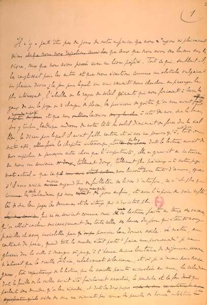 """""""MARCEL PROUST Sur la lecture Manuscrit autographe.  CSB, 160-194 Paris, BnF.""""Sur la lecture"""" est le titre initial de la longue préface à la traduction de Sésame et les Lys de Ruskin, que Proust fait paraître en mai 1906. Le préface avait été publiée seule dès le 15 juin 1905 dans La Renaissance latine."""" BnF http://expositions.bnf.fr/proust/salles/1/index1.htm"""