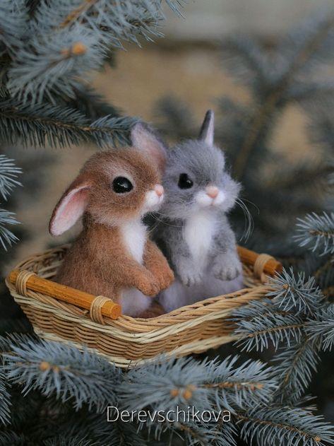 Крольчонок. Игрушка из шерсти