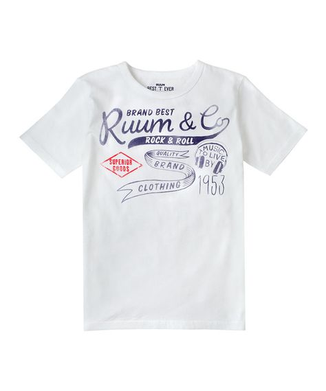 20060ffae Another great find on  zulily! White  RUUM Rock   Roll  Tee - Boys ...