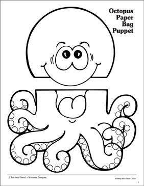 photo relating to Printable Paper Bag Puppets identify Octopus: Paper Bag Puppet Practice - Printable Worksheet