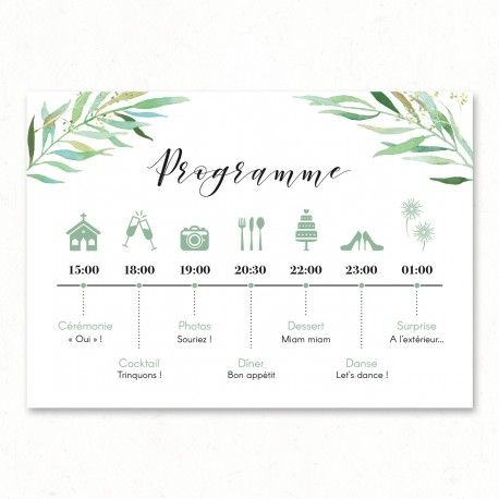 Moderne Programme Eucalyptus Aquarelle, faire-part mariage végétal nature KT-82
