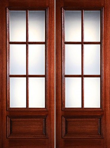 Preston 8 0 Tall 6 Lite Low E 1 Panel Raised Mahogany Prehung Wood Double Door Unit 1798 2 Wk Lt Mahogany Wood Doors Double Doors Wood Entry Doors