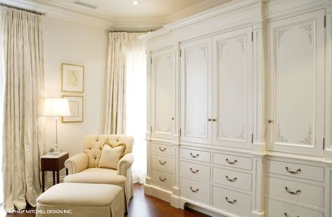 beautiful built in bedroom  storage. white, clean, frames, closets, built ins, curtains, window