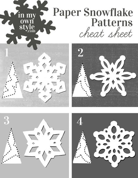 How to Make Paper Snowflakes & Ornaments Using Doilies Keep this paper snowflake making pattern cheat sheet handy when you want to make festive snowflakes to decorate your home for the holidays. Paper Snowflakes Easy, Paper Snowflake Template, Paper Snowflake Patterns, Snowflake Cutouts, How To Make Snowflakes, Simple Snowflake, Snowflake Craft, Snowflake Ornaments, Snowflake Origami