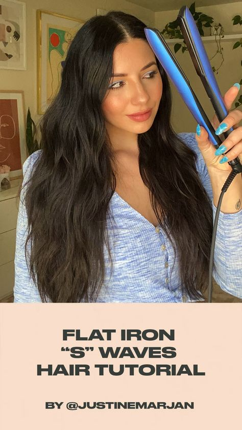 Push Waves with a Flat Iron Hair Tutorial by Justine Marjan