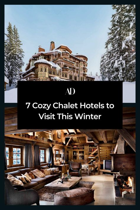 Today, the chalet style remains a popular architectural choice for luxury properties both within the Alps and in ski regions around the world. Here, AD looks at a few of the top traditionally styled hotels set in some of the world's most magical winter wonderlands from Wyoming to France. #travel #skiing #skiresort #skilodge #cabin #logcabin #holiday #winter #vacation #skichalet #chalet #hotels #lodge #france #wyoming #italy #mountains #winter #winterwonderland #wintervacation #skitrip #fireplace