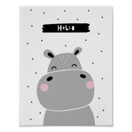 Hello Hippo Scandinavian Nursery Poster Zazzle Com In 2020 Scandinavian Nursery Nursery Poster Art Wall Kids