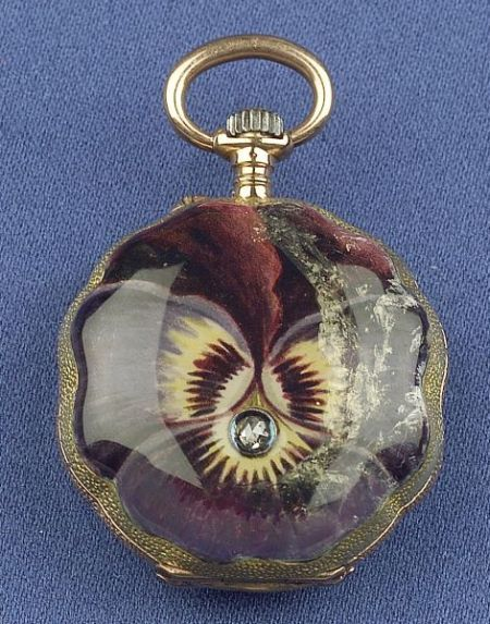 18kt Gold, Enamel and Diamond Hunting Case Pendant Watch