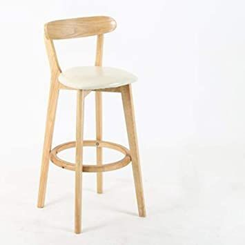 Bar Stools American Retro Wooden High Stool Bar Chair Solid Wood Simple Backrest Bar Stool Nordic Household Cr Bar Stools Wood Bar Stools Bar Stools With Backs