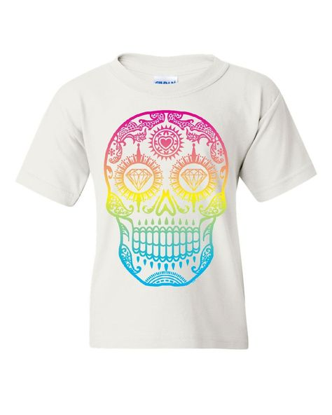 Design By Humans Candy Skull Boys Youth Graphic T Shirt