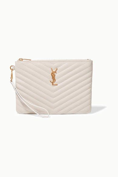 Saint Laurent Monogramme Quilted Leather Pouch - Cream #Sponsored , #sponsored, #Monogramme#Laurent#Saint