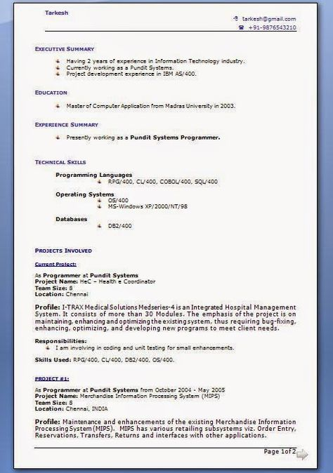 good cv template uk Sample Template Example of ExcellentCV - system programmer job description