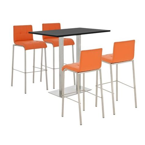 Dragon Circle Dining Set With 4 Stools Brayden Studio Farbe Stuhl Orange Farbe Tisch Weiss Glanzend Bar Table Sets Bar Table