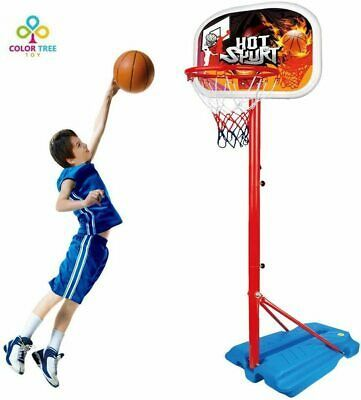 Kids Basketball Hoop Stand Set Adjustable Height With Ball Net Play Sport Games In 2020 Kids Basketball Basketball Hoop Games For Toddlers
