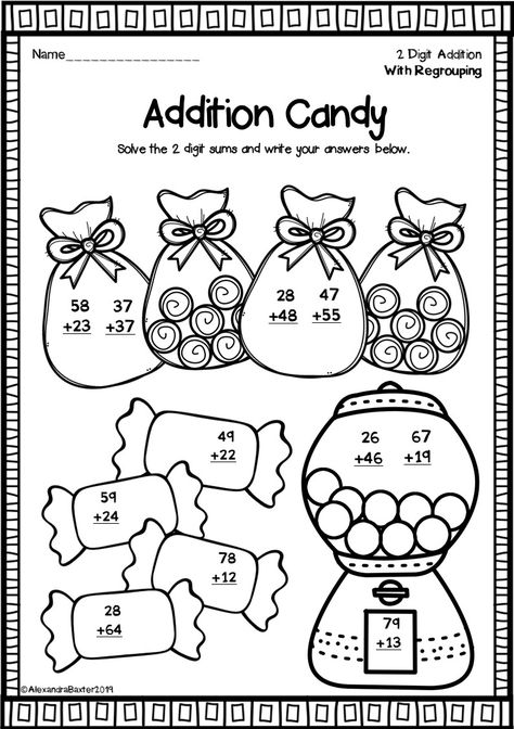 Two Digit Addition Worksheets With Regrouping Fun Math