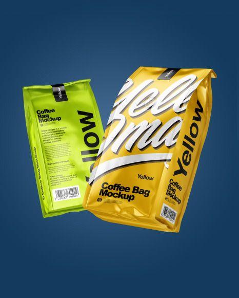 Download Two Matte Metallic Coffee Bag Packaging Mockup In Bag Sack Mockups On Yellow Images Object Mockups Packaging Mockup Bag Packaging Matte Metallic