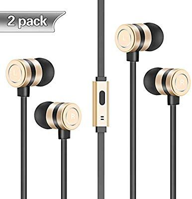 Headphones 2 Pack In Ear Earbuds Noise Isolation Headsets Heavy Bass Earphones With Microphone Compatible Iphone Samsung Ipa Earphone Headphones Android Phone