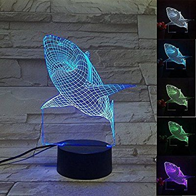 Amazon Com 3d Shark Led Night Light Multi 7 Color Changing Touch Switch Optical Table Lamp Usb Powered For Home Roo Kid Room Decor Led Night Light Night Light