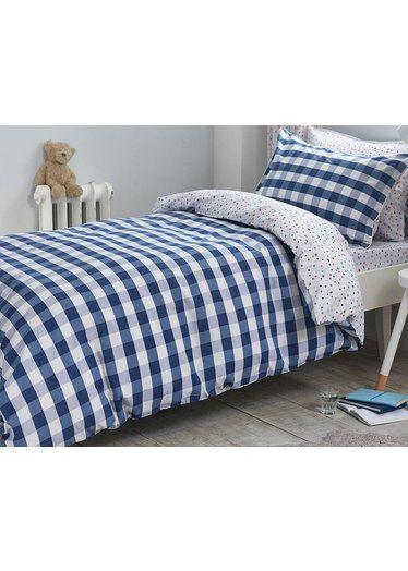 Bianca 100 Cotton Blue Gingham Single Duvet Set Duvet Cover Sets Bed Linens Luxury Cotton Duvet Cover