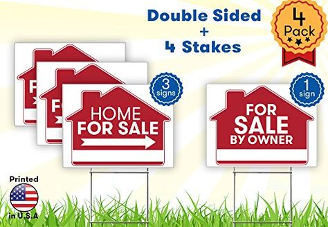 Yard Signs For Sale By Owner Sign 4 Premium Yard Signs Bulk Pack