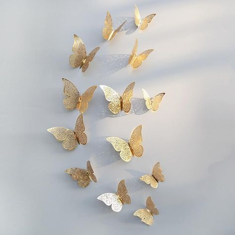 12Pcs 3D Hollow Butterfly Wall Sticker For Home Decoration DIY Wall St – Cifeeo