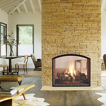 Brick fireplace wall and Double fireplace
