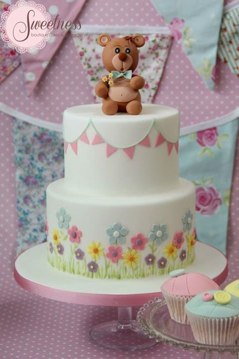 Bunting & Flowers Birthday Cake
