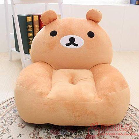 Cartoon Bear Pattern Padded Footstool Round Pouffe Stool Chair Child Kids Seat