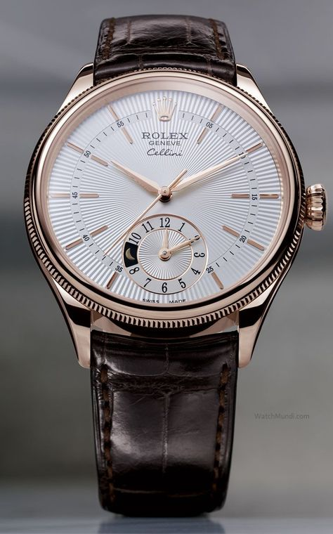 Rolex - Cellini Dual Time - everose gold silver guilloche dial with leather strap. Presenting the finest Men's Watches collection inspiration sharing. Best gift for men in fine suits. Rolex - Cellini Dual T