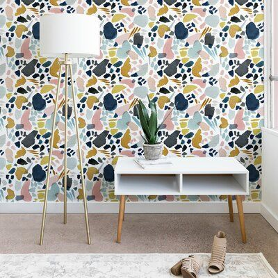 Stephanie Corfee Watercolor Mosaic Smooth Peel And Stick Wallpaper Panel Peel And Stick Wallpaper Wallpaper Panels Home Wallpaper