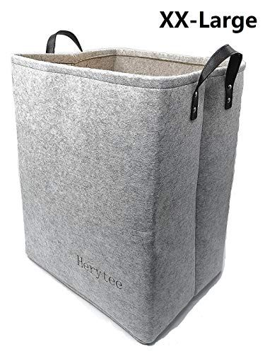 Foldable Laundry Basket Large Hampers For Laundry 20 Quot Tall Felt Storage Baskets With Pu Leather Handles Light In 2020 Felted Storage Large Hampers Laundry Hamper