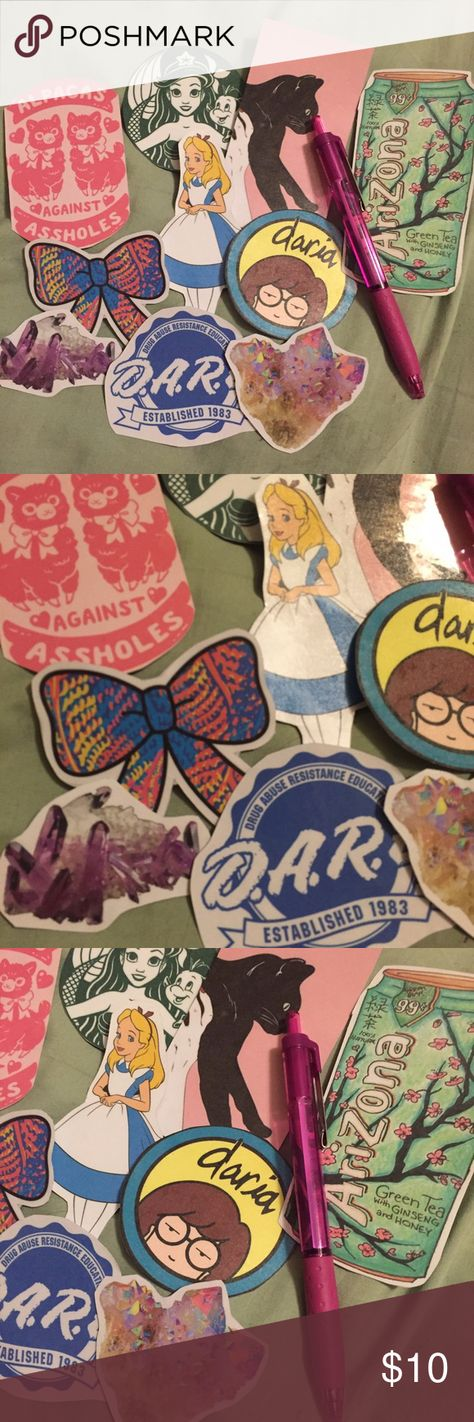 10 piece handmade sticker pack Lot of 10 assorted handmade stickers. Handmade from the heart and laminated for extra protection, not waterproof. Perfect for personalizing your car, laptop, board, planner, whatever!  Tags: Disney, little mermaid, Daria, gemstones, Arizona ice tea, lily Pulitzer, Melanie Martinez, crybaby, dare, Santa Cruz, tumblr, Alice in wonderland, black cat Accessories