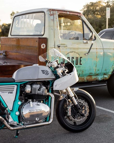 That's quite a pair @roguemotorcycles... - #royalenfield #continentalgt650 #ford #roguemotorcycles #regularmoto
