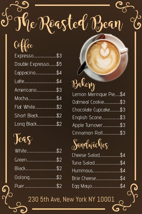 3 510 Coffee Menu Customizable Design Templates Postermywall Coffee Shop Menu Coffee Menu Design Cafe Menu Design