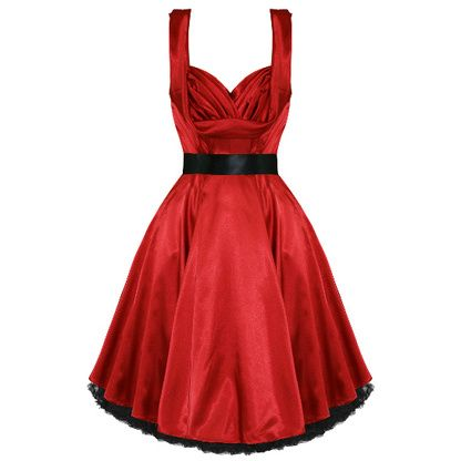 5970fffcc0d Rockabilly 50 s style Red Satin Swing Dress   Modern Grease Clothing    Accessories Co. www.moderngrease.com