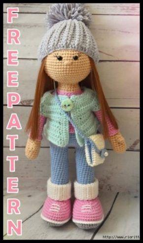 Diy Crochet Doll, Crochet Doll Tutorial, Crochet Baby Dress Pattern, Knitted Dolls Free, Crochet Hats, Doll Amigurumi Free Pattern, Crochet Amigurumi Free Patterns, Crochet Blanket Patterns, Beginner Knitting Patterns
