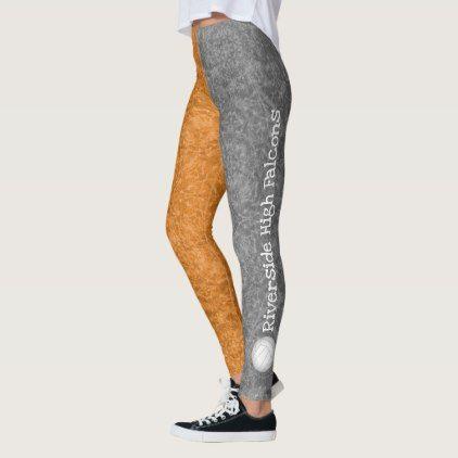 Volleyball Team Name Patterned Gray Orange Leggings Pattern Sample Design Template Diy Cyo Customize Volleyball Leggings Orange Leggings Women Volleyball