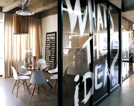 Offices don't always have to be mundane! Take a look at this edgy and contemporary meeting room design in a commercial office space.