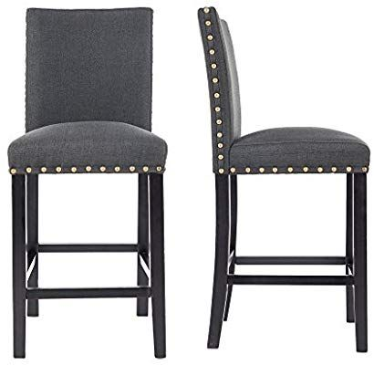 Gotminsi Nailhead 24 Quot Counter Height Stools Upholstered Bar Stools With Solid Wood Legs Set Of 2 Upholstered Bar Stools Modern Counter Stools Bar Stools