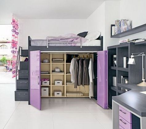 walk-in closet under the bed. stairs, complete with railing, that are also drawers. love love love. Maybe this on